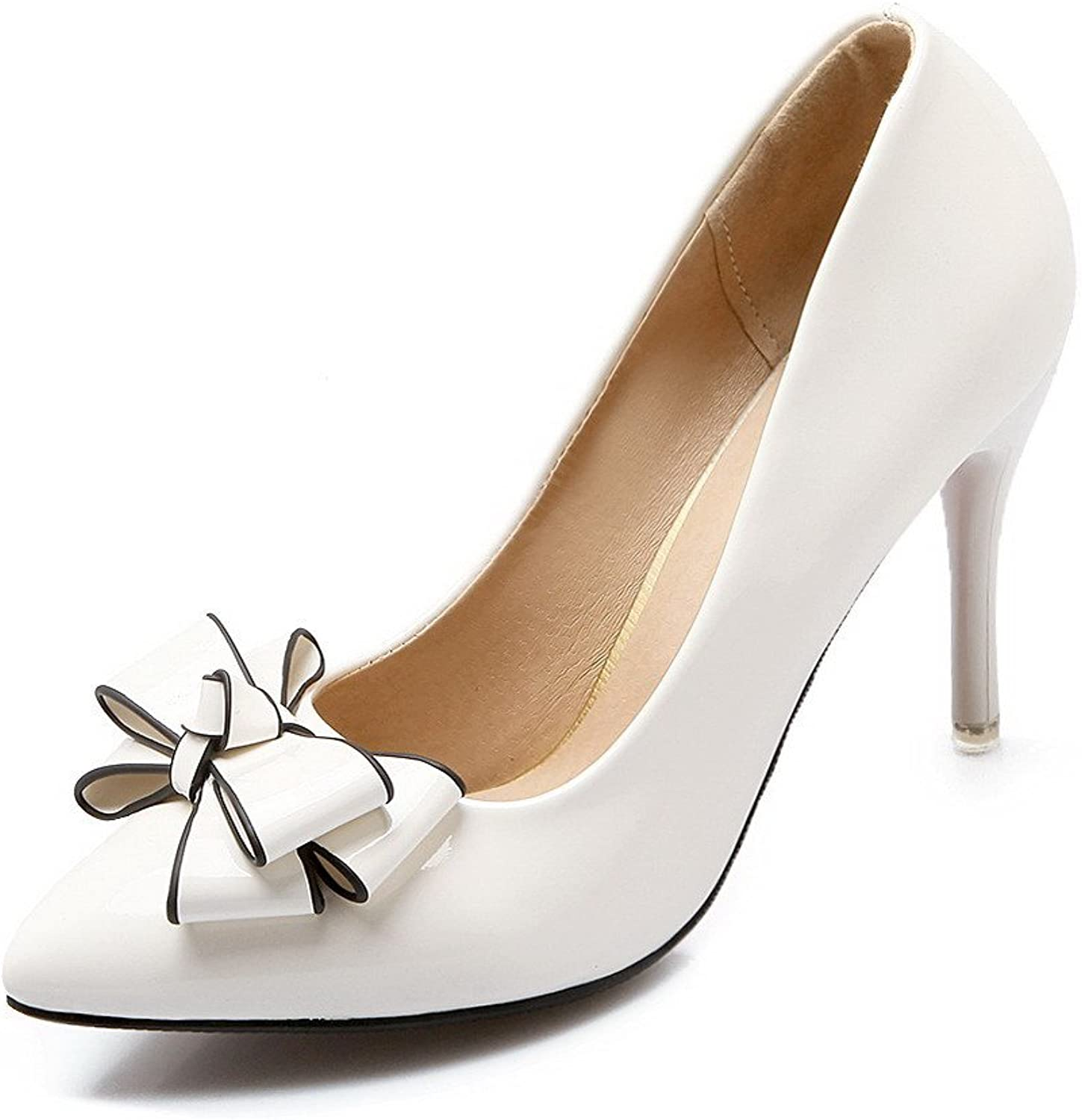 AllhqFashion Women's Patent Leather Pointed Closed Toe High-Heels Pull-on Solid Pumps-shoes