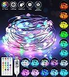 Led Lichterkette Bunt, Audor 10M 100LED USB Lichterkette Draht Wasserdicht mit fernbedienung, 16 Farben 12 Modi Led Lichterkette Außen für Zimmer,...
