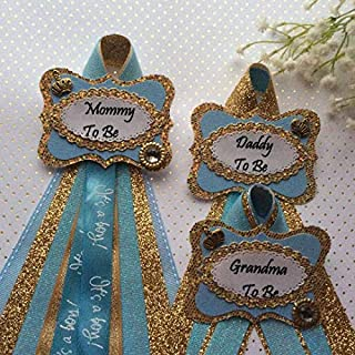 Gold - Blue Prince Baby Shower Corsage, Gold Prince Theme Baby Shower, Mommy,Daddy and Granmda To Be Corsage