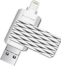 Lightning Flash Drive For iPhone ,Suntrsi Pen Drive Lightning Memory Stick External Memory Storage OTG Flash Drive Compatible to iPhone,iPad,iPod,Mac,Android and PC(64G Silver)