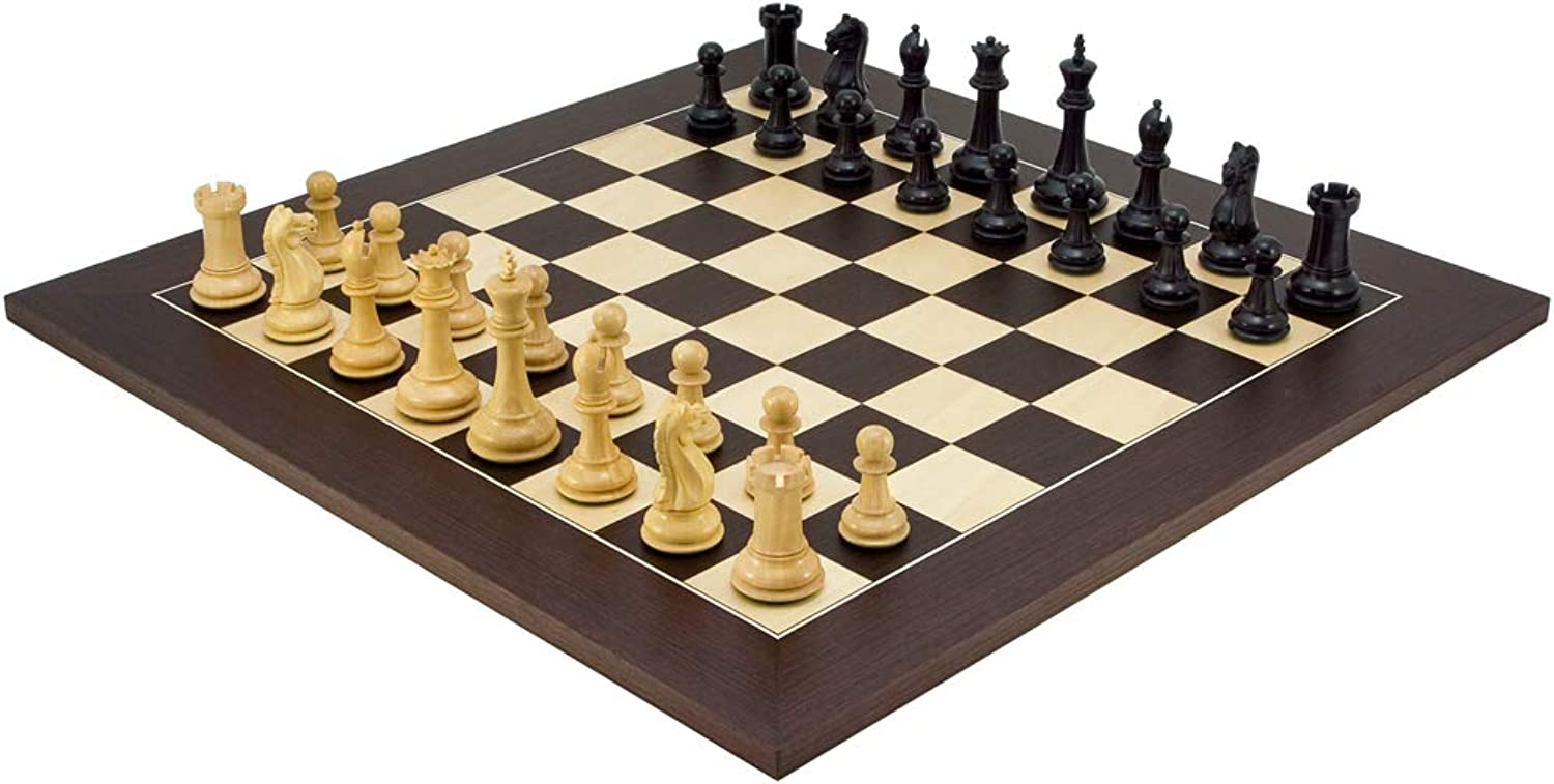 Oxford Series Ebonised Chessmen with 21.7 in. Deluxe Wenge Board