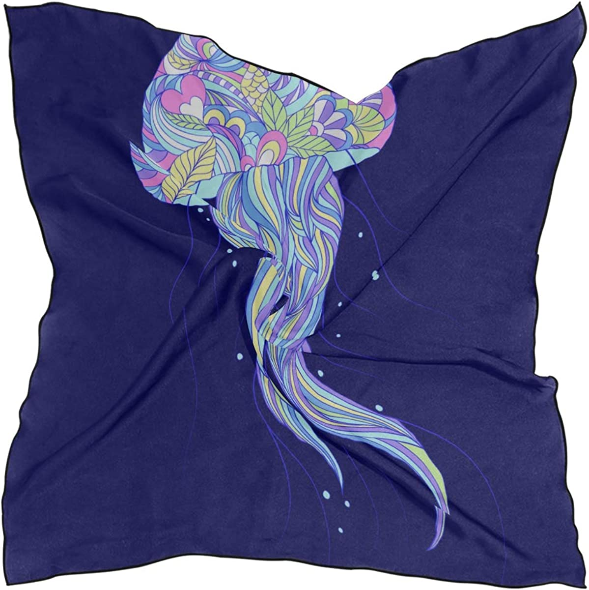 Soft Polyester Silk Ladies Scarf Fashion Print Colored Jellyfish Creature Square Fashion Scarf Girls Scarves Headband Scarf Multiple Ways Of Wearing Daily Decor