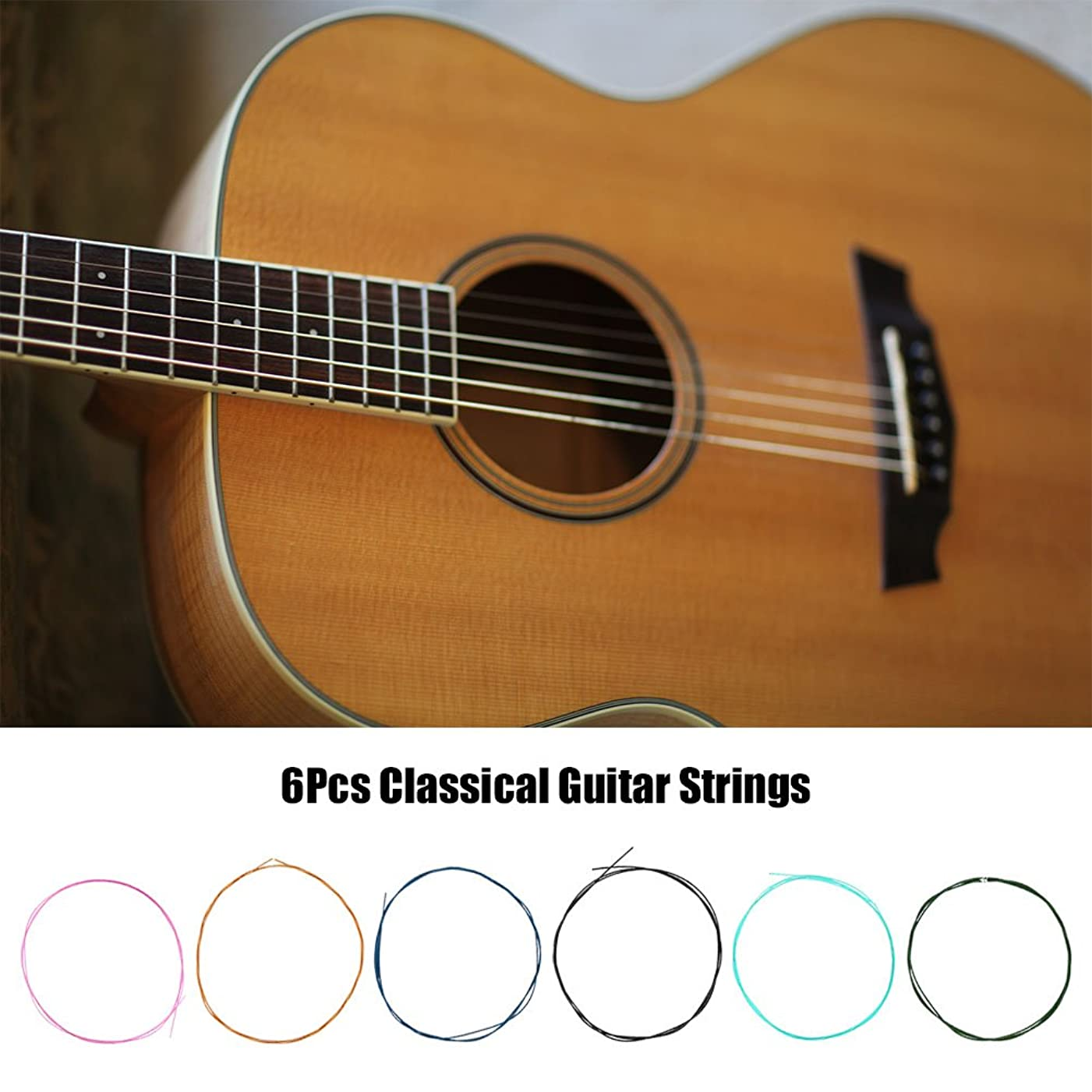 繁栄する立派な照らす6本入 ギター弦 カラフル クラシックギター用 安定性 ギター交換部品 パーツ