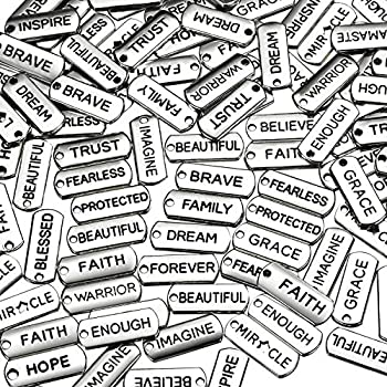 80 Pieces Word Charms Pendants Engraved Motivational Charms Pendants Jewelry Making Accessories for DIY Necklaces Bracelets Bangles Key Chains  Silver