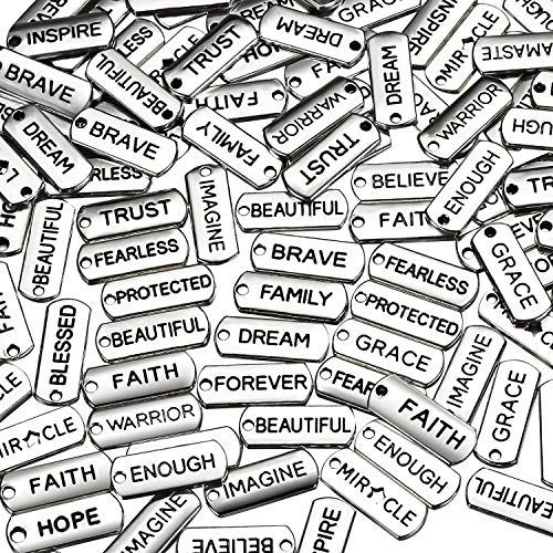 80 Pieces Word Charms Pendants Engraved Motivational Charms Pendants Jewelry Making Accessories for DIY Necklaces, Bracelets, Bangles, Key Chains (Silver)