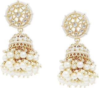 Zaveri Pearls Gold Tone Traditional Kundan & Pearls Jhumki Earring For Women-ZPFK11012