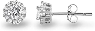 925 Sterling Silver Cubic Zirconia Classic Halo Stud Earrings, (Center Stone: 4.5mm)