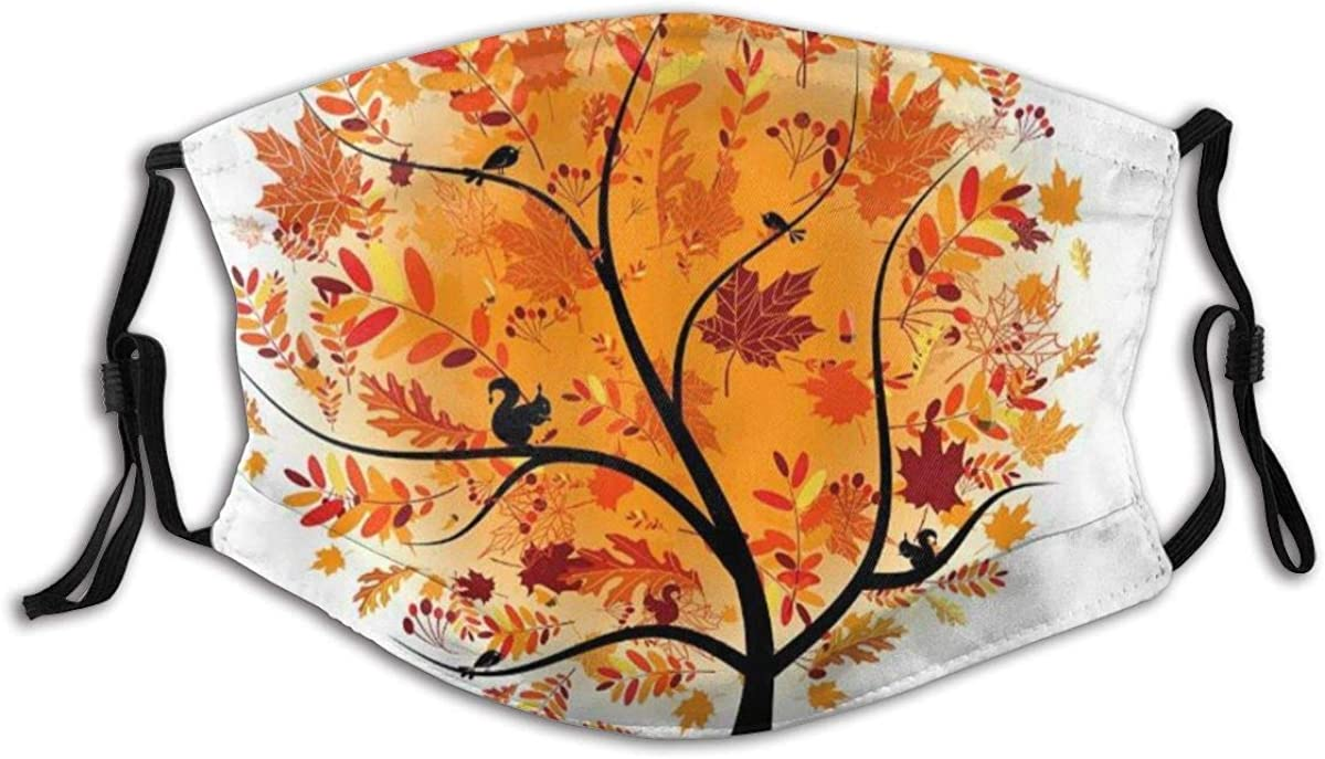 Face Mask Industry No. 1 Orange In stock Maple Leaves Autumn Fall Washable a Tree Unisex