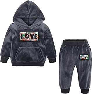 Toddler Kids Baby Boys Girls 2Pcs Velvet Hoodie Tracksuit Top+Sweatpants Fall Winter Letter Printed Outfits Set
