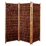 Gartenpirat Weiden-Paravent Raumteiler 180x180 cm (LxH) 3-teilig aus Holz + Weide geflochten