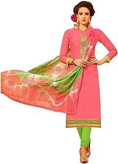 Readymade Mirror Work Jaquard Cotton Embroidered Salwar Kameez Suit