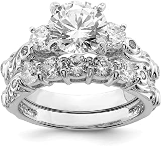 925 Sterling Silver 2 Piece Cubic Zirconia Cz Wedding Band Ring Engagement Set Fine Jewelry For Women Gift Set