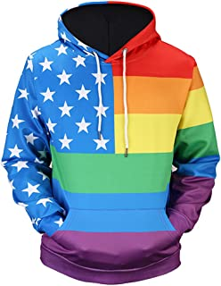 Unisex All Over Funny Print Hoodie Long Sleeve Pullover Sweatshirt with Pockets