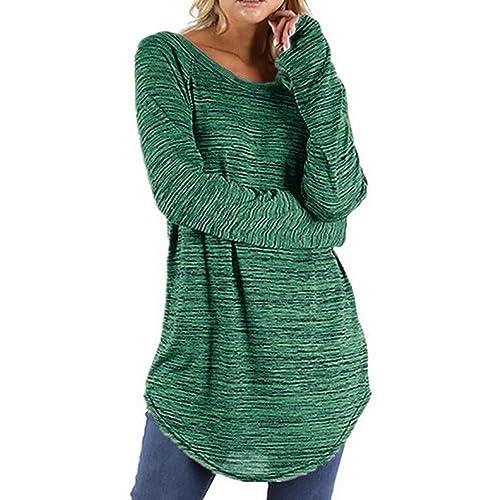 87631ac145c Oksale Women Plus Size Solid Color RounLong Sleeve Blouse Pullover Tops  Shirt