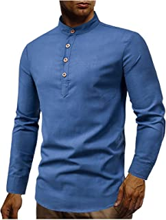 ZHUYOU Men's Cotton Linen Henley Shirt Plus Size Long Sleeve Tops Solid Stand-Up Collar Slim Fit Casual Button Work Shirts
