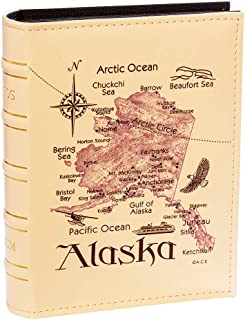 Longpro Imitation Leather Photo Album Slots album 200 Horizontal Insert Pockets Hold 4 x 6 Photos PU Cover Book Bound Alaska Map Travel Souvenir Family Vacation Birthday Wedding Memory Collection