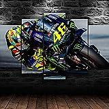 XIAYUU Valentino Rossi MotoGP Leinwand Bilder 5 Teilig Leinwand Kunstdruck 5 Stück Leinwanddrucke HD Poster Panel Modern Lein Wandbild,Wohnzimmer Wand Dekoration.(Mit Rahmen 150x80 cm)