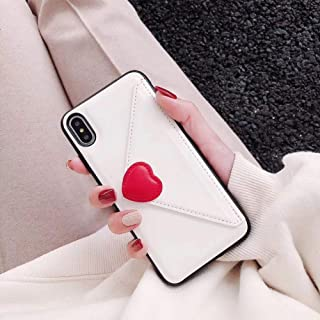 Twinlight Luxury Heart New Embroidery Leather Fashion Hot Cute Pink Case for iPhone 7 Plus 7 8 X Phone Heart (White, for iPhone Xs Max)