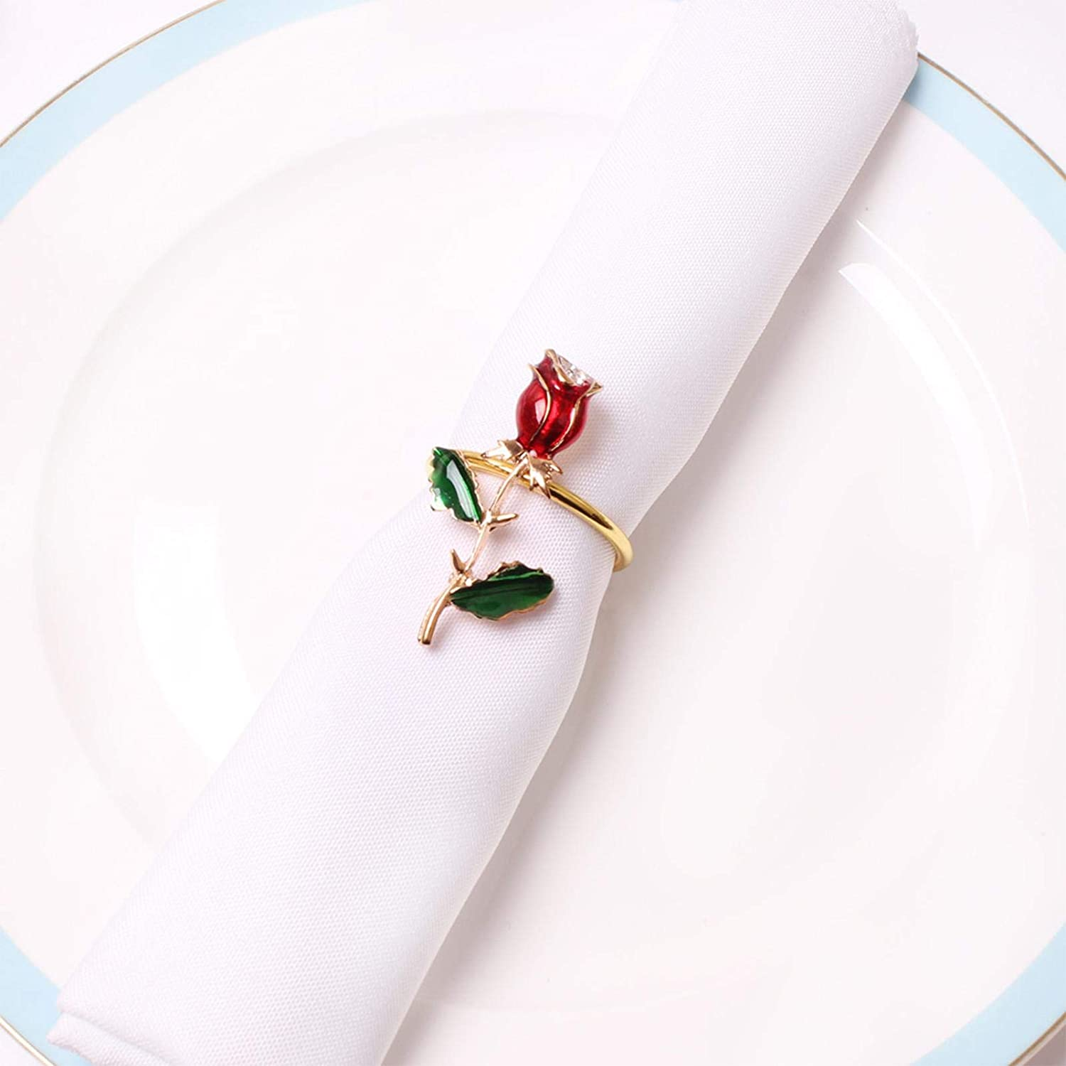 Red Rose Flower Napkin Rings Set of 1//6 Holder for Valentines Day Wedding Party Daily USE Home Valentine/'s Day Dinner Wedding Party Banquet Dinning Propose Marriage Restaurant Hotel Table Decoration