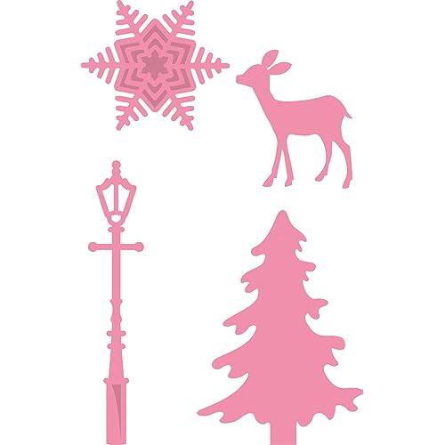 Marianne Design COL1330 Décoration de Village de Noël à Collectionner, Métal, Rose, 3,2 x 2,8 x 0,4 cm