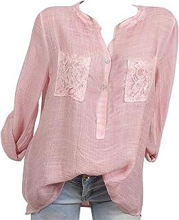 FRPE Women Heap Sleeve Pockets Casual Cotton T-Shirt Top Blouse