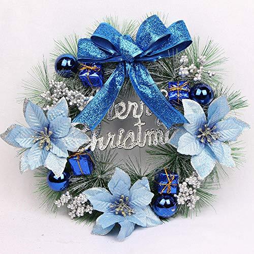Topashe Hoja de Arce Calabaza Berry Guirnalda,Corona de decoración navideña, Corona de Mimbre con Agujas de Pino-Azul_30cm con luz,Corona de Navidad con iluminación