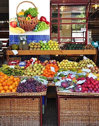 Oedim Vinilo Decorativo Pared 3D Fruteria   Cesta de Mimbre Frutas y Verduras   125x90cm   Adhesivo Resistente y de Facil Aplicación   Pegatina de Diseño Elegante   Decoración Puestos de Venta