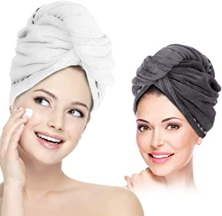 Hair Towel Wrap Turban Microfiber Hair Drying Towels, 2 Pack Twist Head Towel with Button, Quick Dry Super Absorbent Anti-Frizz for Women Girls Long & Curly Hair by AMoko