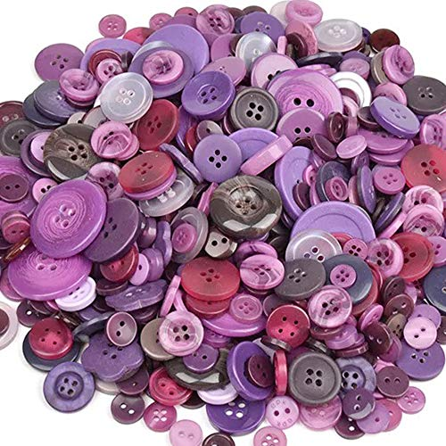 TangTanger 600+ Pcs Assorted Size Resin Buttons 2 and 4 Holes Round Craft for Sewing DIY Crafts Childrens Manual Button Painting (Purple)
