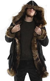 Mens Warm Plus Thicker Long Coat Hoodie Jacket Faux Fur Parka Outwear Cardigan