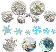 Nuluxi Plástico Cortador de Galleta Copo de Nieve Copo de Nieve Utensilios para Modelar Pasteles Molde Plástico de Torta de Categoría Alimenticia Adecuado para Decorar Navidad Tartas (6 Piezas,Blanco