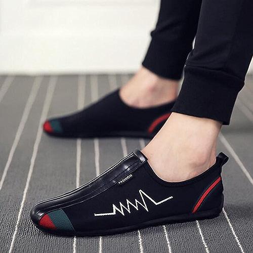 GLSHI Chaussures pour hommes tissu été mocassin oxford chaussures de marche à lacets pour l'extérieur noir rouge