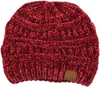 ScarvesMe Soft Warm Solid Color Ribbed Chenille Unisex Beanie