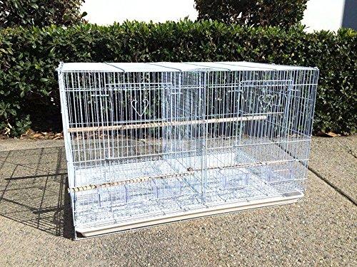 """Mcage Divided Flight Breeding Breeder Lovebird Cockatiel Cockatiels Parakeets Cage (30"""" x 18"""" X 18""""H, White)"""