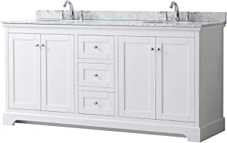Wyndham Collection Avery 72 Inch Double Bathroom Vanity in White, White Carrara Marble Countertop, Undermount Oval Sinks, and No Mirror