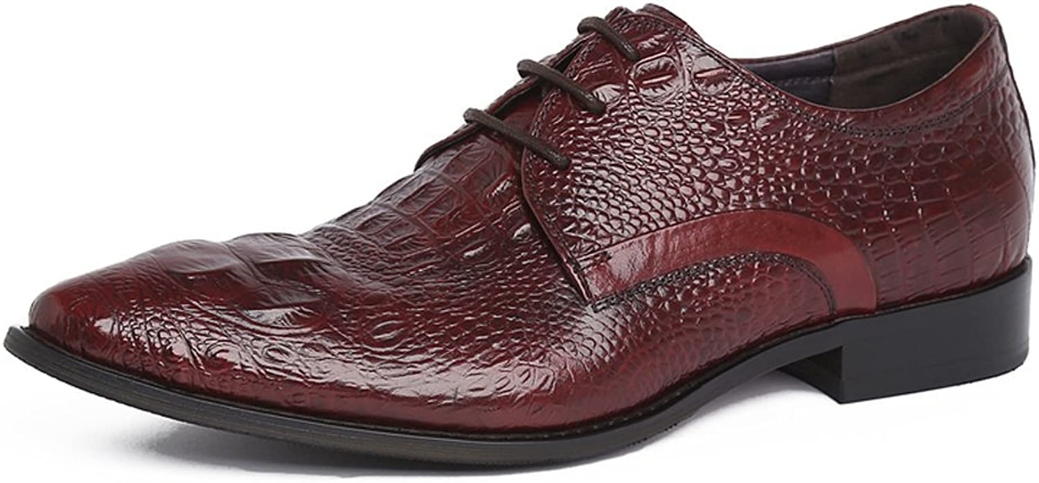 UNbox Mens 3-Eye Emboss Leather Lace-up Formal Work shoes