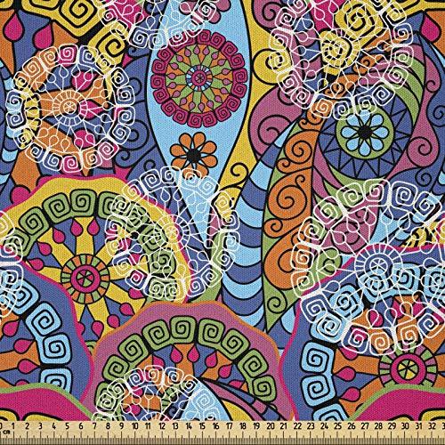 ABAKUHAUS Mandala Tela por Metro, Adornos Étnicos Abstractos, Microfibra Decorativa para Artes y Manualidades, 2M (230x200cm), Multicolor