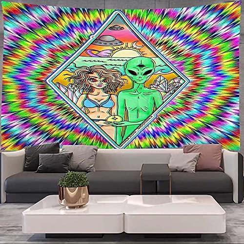 Fantástico tapiz alienígena mandala encaje hippie arte colgante de pared estilo boho tapiz decorativo hogar dormitorio tela colgante A2 100x150cm