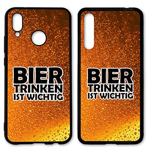 Handyhülle Bier für Huawei Silikon Hülle Saufen Vodka Alkohol Lustig Trinken Spruch Sprüche, Hüllendesign:Design 2   Silikon Schwarz, Kompatibel mit Handy:Huawei P20 Pro
