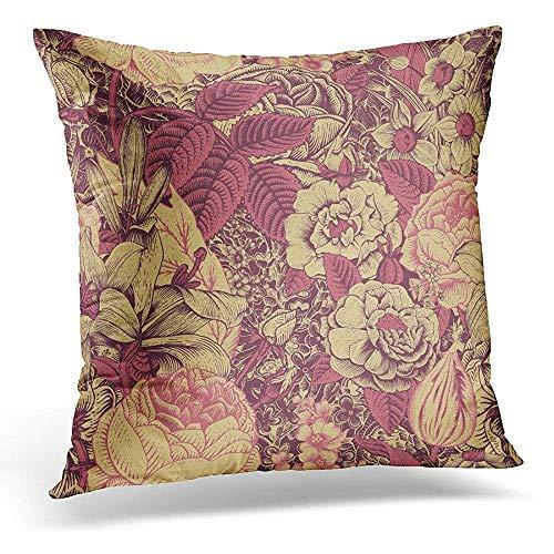 GFGKKGJFD42 - Fundas de cojín (45 x 45 cm), diseño floral, color rosa claro y rosa oscuro sobre rosas doradas y doradas, 45 x 45 cm, para decoración del hogar, fundas de almohada con cremallera para adolescentes