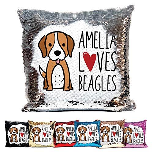 Bantersaurus Personalised Love Beagle Reversible Sequin Cushion Customised Name - Blue