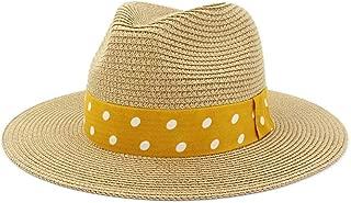 Hats and Caps Panama Hat for Men Straw Fedora Sunhat Women Summer Beach Sun Visor Cap Chapeau Cool Jazz Trilby Cap Sombrero (Color : Beige, Size : 56-58CM)