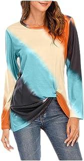 SportsXX Women Crewneck Casual Long Sleeve Blouse Gradient Ramp Tees Top