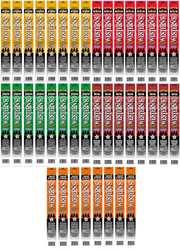 Western's Smokehouse Meat Sticks Variety Pack of 40 - Pork and Beef Jerky Sticks - Proudly Made in the USA - Assortment of 5 Flavors (8 of ea.)