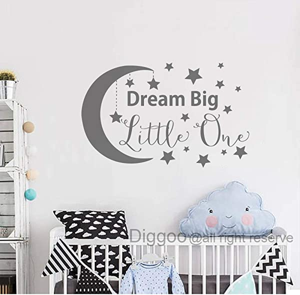 Dream Big Little One Decal Wall Decal For Kids Baby Nursery Decor Moon And Star Wall Decals Bedroom Decor Gray 19 H X 30 W