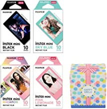 Fujifilm Instax Mini Instant 4 Film Multi-Pack, Black, Sky Blue, Macaron, Pink Lemonade, 40 Shots Total for Fuji Camera 9 8 7s 70 Original Box