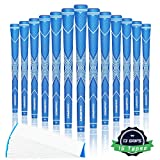 Champkey Traction-X Golf Grips Set of 13(5 Oz Solvent,Blade,15 Tapes & Vise Clamp Available)-Choose Between 13 Grips & All Repair Kits and 13 Grips & 15 Tapes (Blue&White(15 Tapes Included), Midsize)