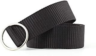 SGJFZD Round Buckle Canvas Belt Fashionable Unisex Belts Lovers Students Belts Wild Tide (Color : Black, Size : 109 * 3.3cm)