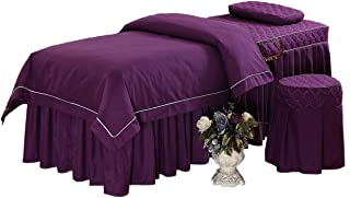 O'Fivest Massage Table Sheet Sets, Pure Color, 4 Pieces, Bedspread with Face Rest Hole, Customizable