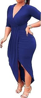 Club Dress for Women Sexy Ruched Bodycon Asymmetrical Hem V Neck Midi Dresses